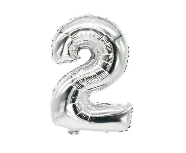 """Сребрист парти балон - цифра """"2"""""""