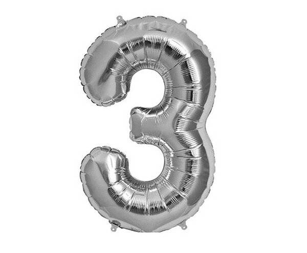 """Сребрист парти балон - цифра """"3"""""""