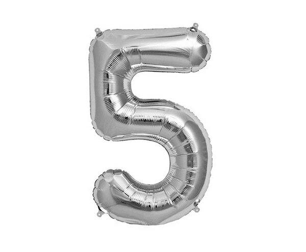 """Сребрист парти балон - цифра """"5"""""""