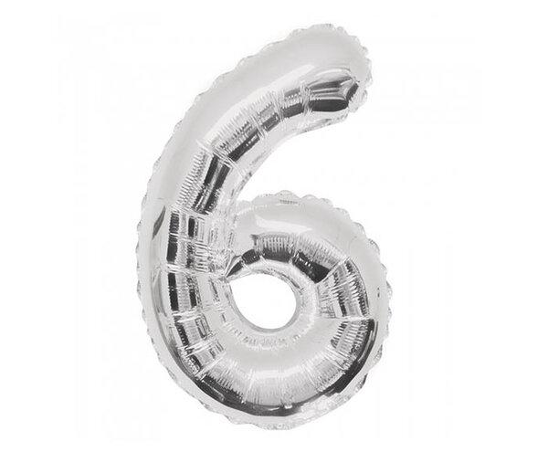 """Сребрист парти балон - цифра """"6"""""""