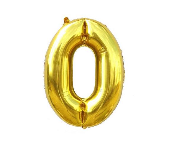"""Златист парти балон - цифра """"0"""""""