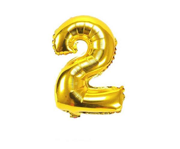 """Златист парти балон - цифра """"2"""""""