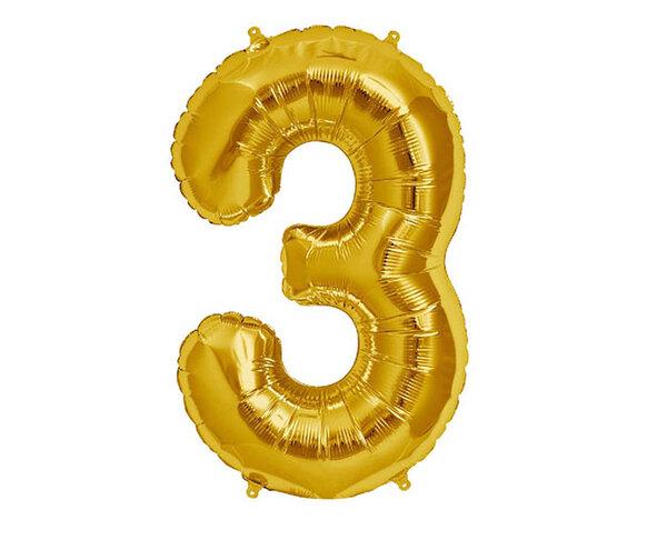 """Златист парти балон - цифра """"3"""""""