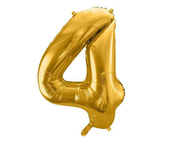 """Златист парти балон - цифра """"4"""""""