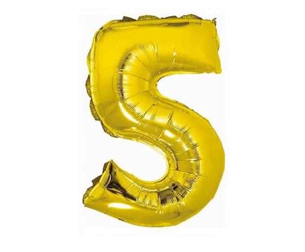 """Златист парти балон - цифра """"5"""""""