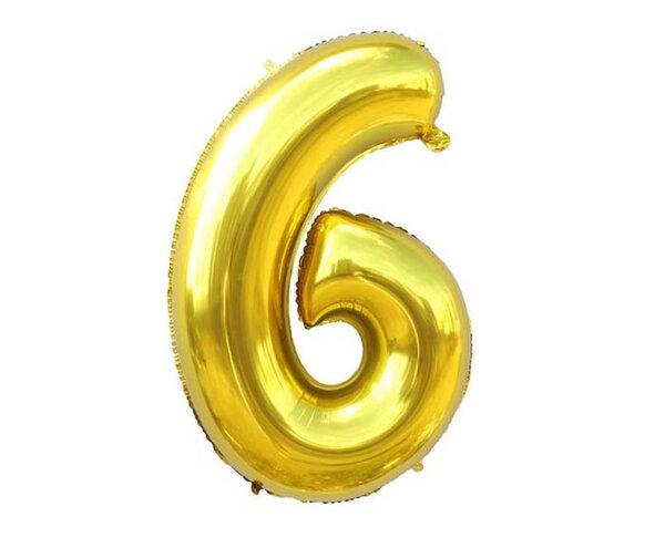 """Златист парти балон - цифра """"6"""""""