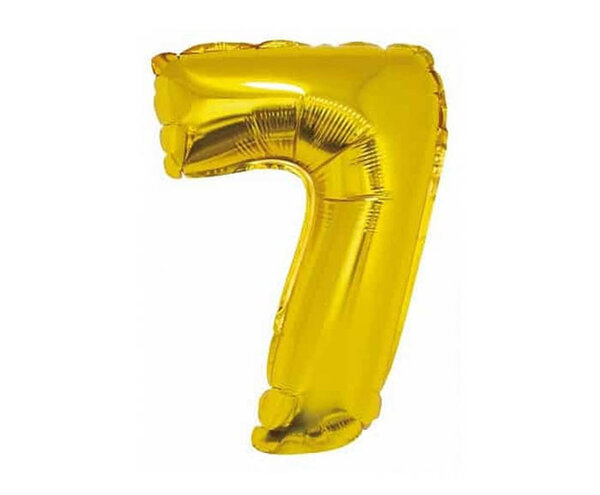 """Златист парти балон - цифра """"7"""""""