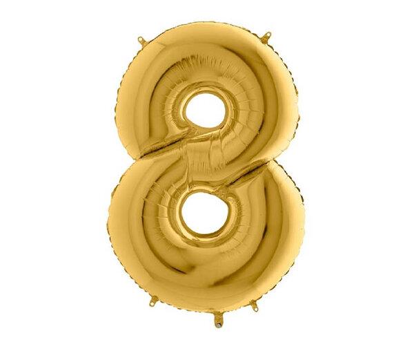 """Златист парти балон - цифра """"8"""""""