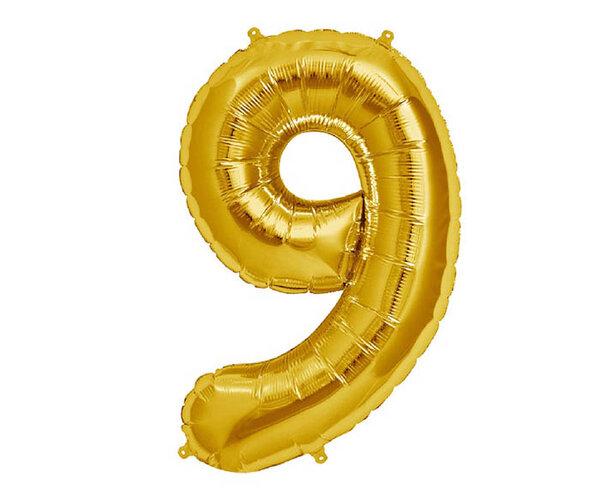 """Златист парти балон - цифра """"9"""""""