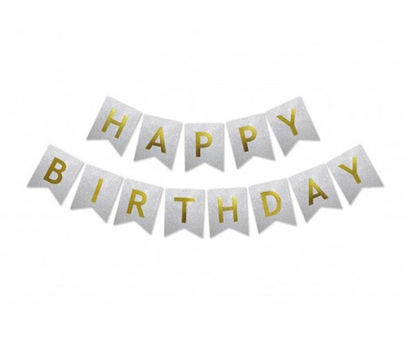 "Хартиен надпис ""Happy Birthday"", сребрист с брокат"