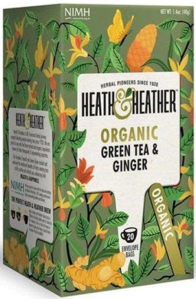 Био чай Heath & Heather зелен чай и джиндър 20бр х 2г