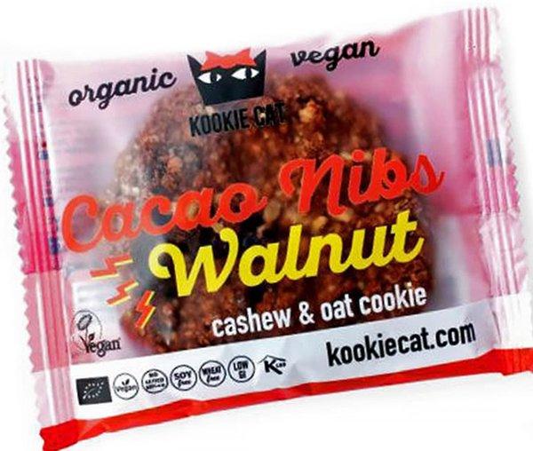 Био курабийка с какаови зърна и орехи Kookie Cat 50гр - веган