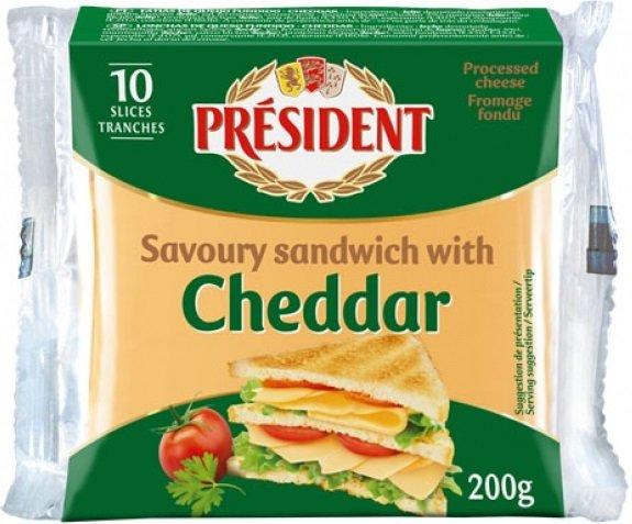 Сирене за сандвичи чедър President 200гр