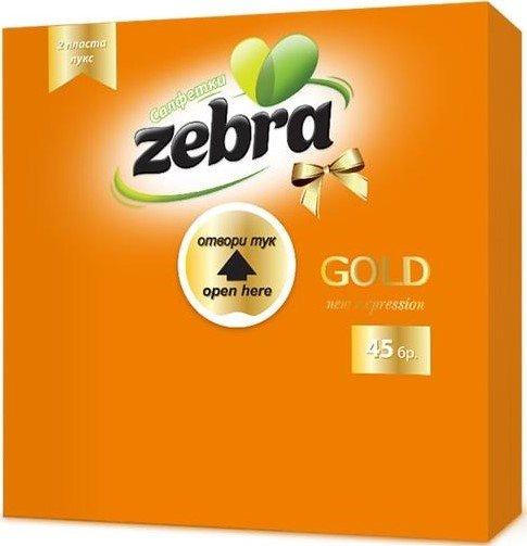 Салфетки Zebra Gold 33x33см 45бр - двупластови, оранжеви