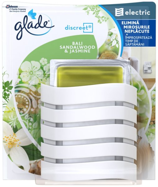 Ароматизатор Glade Discreet комплект за контакт Sandalwood & Jasmine