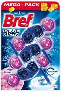 Ароматизатор за тоалетна чиния Bref Blue Aktiv Fresh Flowers 3x50гр