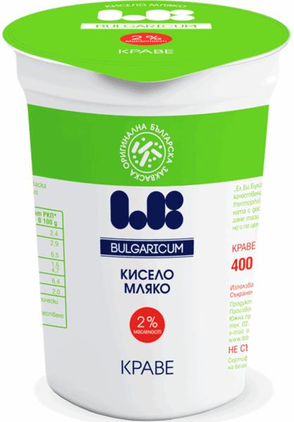 Българско краве кисело мляко LB Bulgaricum БДС 2% 400гр