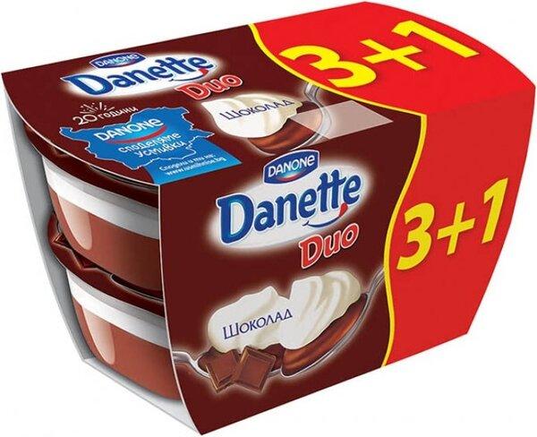 *Пакет: Danette Duo Шоколад 4бр x 115гр