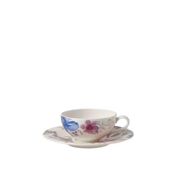 чайник и чинийка за чай Villeroy & Boch, Mariefleur Gris Basic Tea