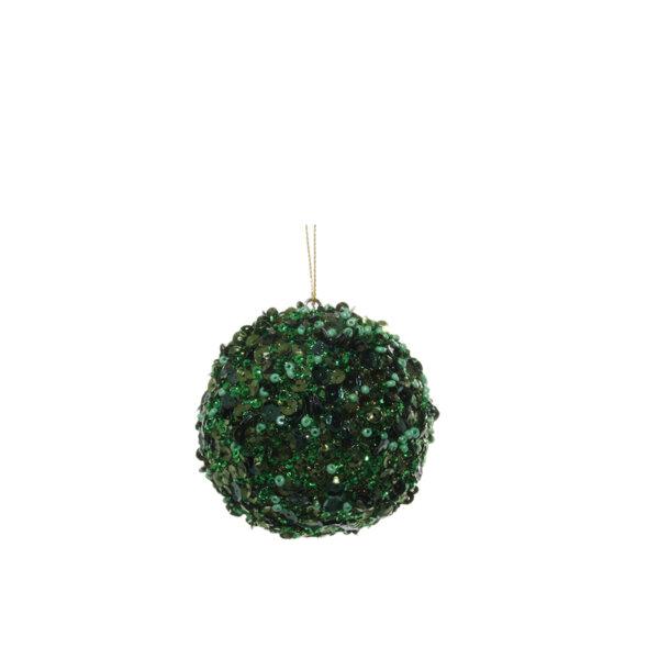 КОЛЕДНА ТОПКА ЗЕЛЕНА Shishi GLITTER GREEN  BALL 8 CM