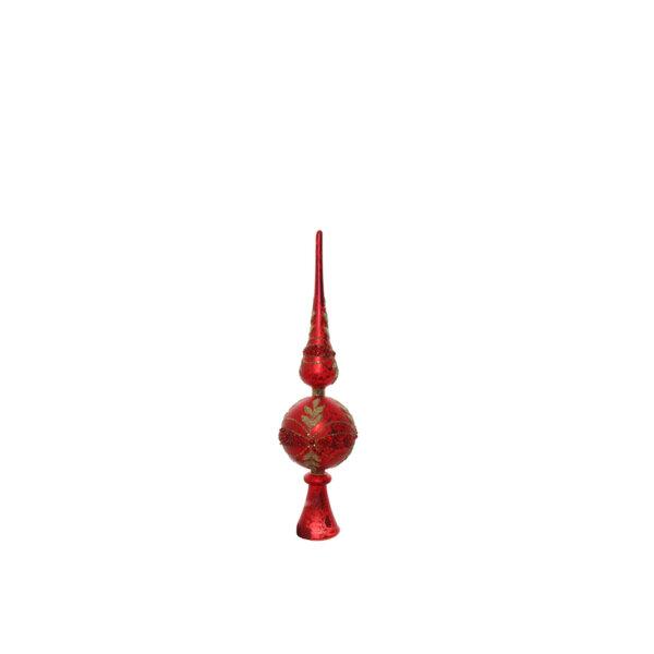 КОЛЕДЕН ВРЪХ ЧЕРВЕН Shishi GLASS TREE TOP GLIT RED 30СМ