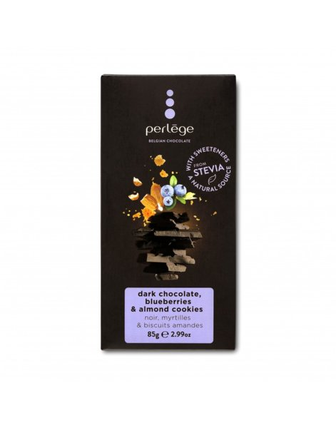 Perlége тъмен шоколад с боровинка и бадемови бисквитки без захар