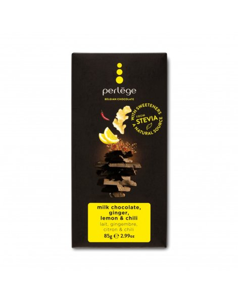 Perlége млечен шоколад с джинджифил, лимон и чили без захар